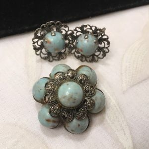 Antique Silver Brooch And Earring Set